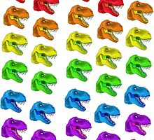 Rainbow T-Rex Pattern by BrittanyPurcell