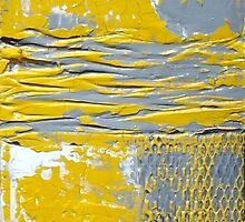 Yellow and Grey Abstract Art Set URBAN CHIC by Holly Anderson by hollyanderson