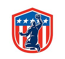 American Basketball Player Dunk Rear Shield Retro by patrimonio