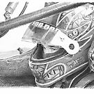Race-car driver drawing by Mike Theuer