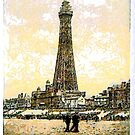 A digital painting of The Tower, Blackpool, England by Dennis Melling