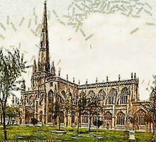 A digital painting of  St. Mary Redcliffe, Bristol, England.  by Dennis Melling