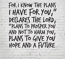 Bible Verse Art, Jeremiah 29:11, For I know the plans I have for you by inspirational4u