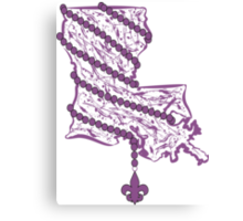 Louisiana State Wrapped in Purple Beads Canvas Print