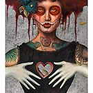 Muertos Day of the dead heartless Sylvia Lizarraga by OutsiderArtist