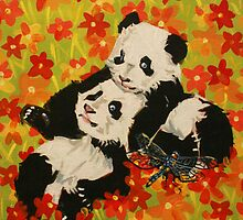 Panda Cubs in Orange Flowers by IanLeeOliver