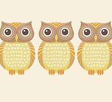 Owl Trio by Jean Gregory  Evans