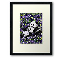 Panda Cubs in Purple Framed Print