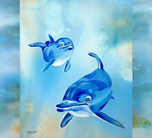 Dolphins - Floating Free by Patricia Howitt