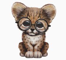 Cute Cheetah Cub Wearing Glasses on Teal Blue T-Shirt
