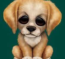 Cute Golden Retriever Puppy Dog on Teal Blue by Jeff Bartels