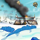 Ice planet Space battle. by Nick  Greenaway