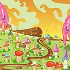 Mushroom fields Landscape Cartoon by Nick  Greenaway