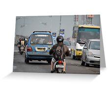 busy traffic in bandung Greeting Card