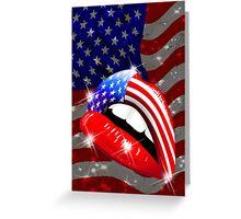 USA Flag Lipstick on Sensual Lips Greeting Card