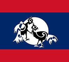 Laos, Roosters sparring  by piedaydesigns