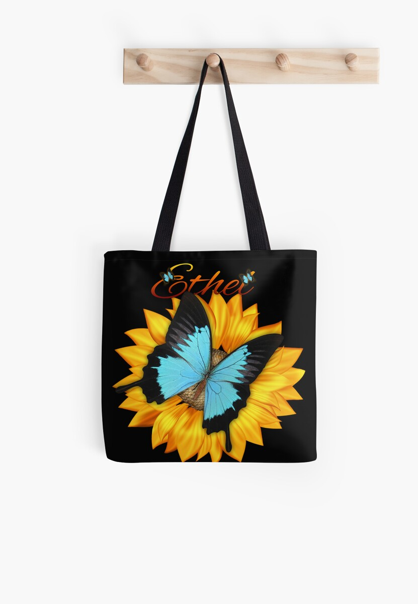 Ethel Butterfly And Sunflower Tote Bag by Moonlake