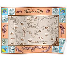 Ancient Marine Life map Poster