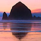 Sunset at Haystack Rock by Tori Snow