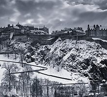 Edinburgh Castle in winter clothing by irisone
