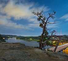Austin Texas Images - The 360 Bridge and the Austin Skyline Under a Full Moon 3 by RobGreebonPhoto
