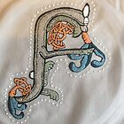 Celtic Rabbit Letter F Embroidery by Donna Huntriss
