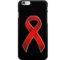 Classic AIDS Awareness Red Ribbon overlay iPhone Case/Skin