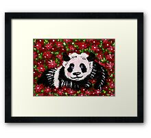 Panda Resting in Red Framed Print