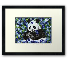 Panda Bear in Blue Framed Print