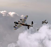 Lancasters Forming Up by J Biggadike