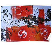 Abstract in Red and Black by Heather Holland  Poster