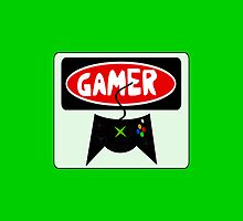 GAMER: RETRO XBOX STYLE CONTROLLER, FUNNY DANGER STYLE FAKE SAFETY SIGN by DangerSigns