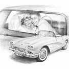newlyweds and corvette drawing by Mike Theuer