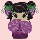 Purple Grapes Kokeshi Doll by SaradaBoru