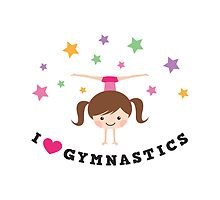 I love gymnastics - brunette girl doing a handstand by MheaDesign