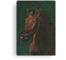 Brown horse portrait on green velvet Canvas Print