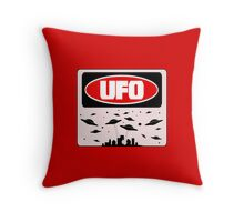 UFO, FUNNY DANGER STYLE FAKE SAFETY SIGN Throw Pillow