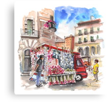 Onion and Garlic Street Seller in Siracusa Canvas Print