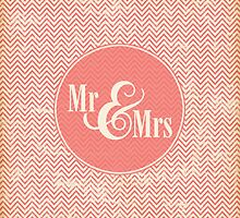"Coral Chevron ""Mr & Mrs"" by SimplyPut"