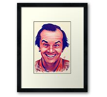 Smiling young Jack Nicholson digital painting Framed Print