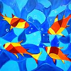 Joy Fish -Abstract painting by mkanvinde