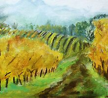 Oregon Vineyard Acrylic Painting by JamesPeart