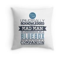 A Mad Man in Possession of a Blue Box Throw Pillow