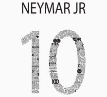 Neymar Jr Typographic Black Brazil  T-Shirt