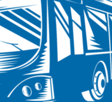Tourist Coach Shuttle Bus Shield Woodcut Sticker