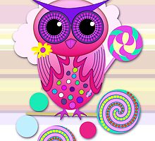 Cute Candy Owl with Birthday text card by walstraasart
