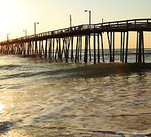 Nags Head Pier at Sunrise, the Outer Banks, North Carolina by Roupen  Baker