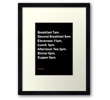 Hobbit Meal Times Framed Print