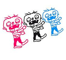 3 small funny comic cartoon zombies by Style-O-Mat