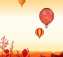 Hot air balloons sunset valley by smileysunday